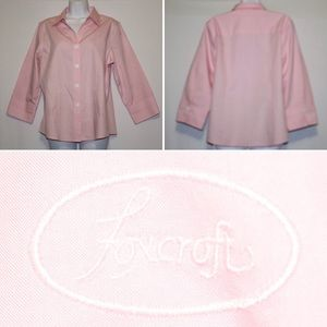 Foxcroft Pink Blouse 3/4 Sleeves Size 12